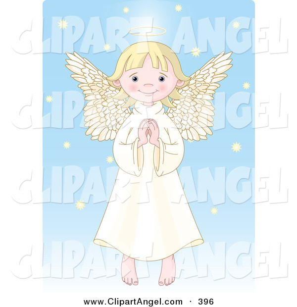 Illustration Vector of an Innocent Blond Female Caucasian Angel with a Halo, Holding Her Hands Together