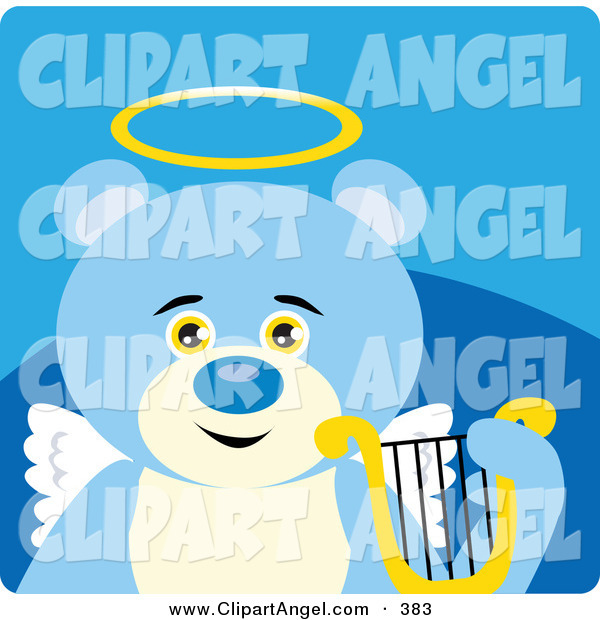 Illustration Vector of an Innocent Blue Teddy Bear Angel with a Halo, Wings and Lyre on a Blue BackgroundInnocent Blue Teddy Bear Angel with a Halo, Wings and Lyre on a Blue Background