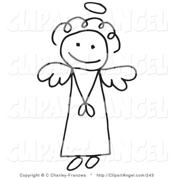 Illustration Vector of an Innocent Flying Stick Figure Angel Girl with a Halo Overhead