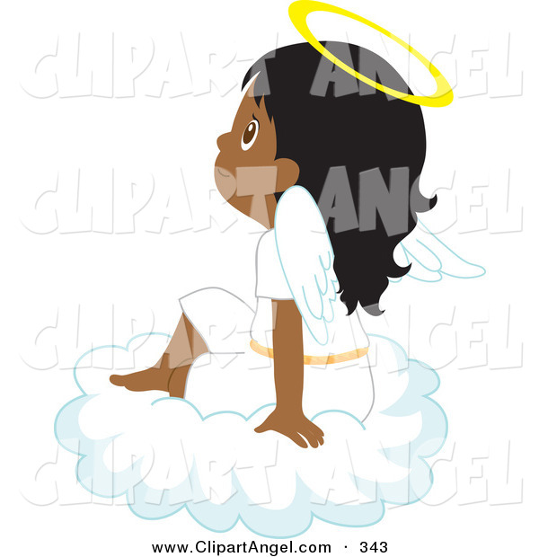 Illustration Vector of an Innocent Indian or Darkskinned Angel Girl Sitting on a Cloud