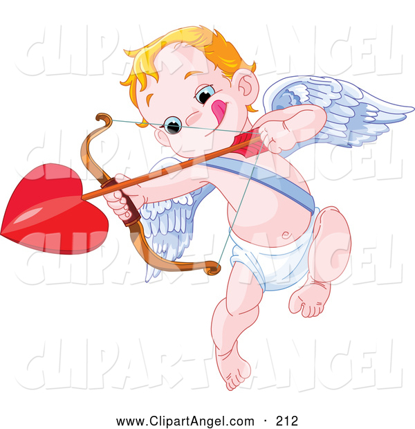 Illustration Vector of an Little Cupid Biting His Lip and Aiming a Heart Arrow, on White