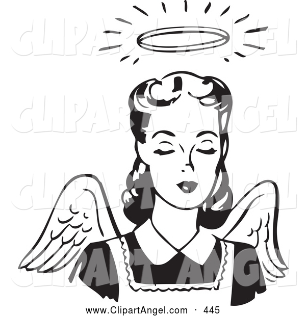 Illustration Vector of an Pretty Retro Black and White Angel Woman with Wings and a Halo