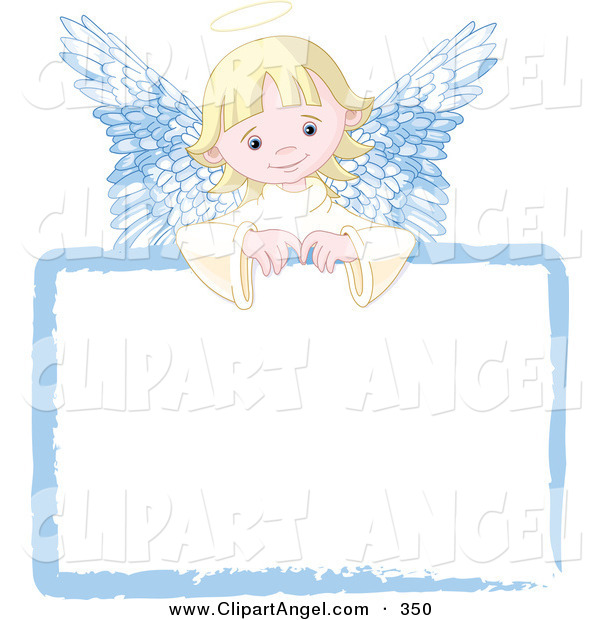 Illustration Vector of an Sweet Blond Angel Girl Looking over a Blank White Sign