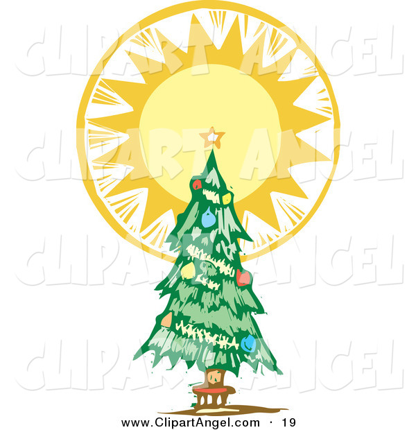 Illustration Vector of an Trimmed Christmas Tree with an Angelic Shining Tree Topper Star