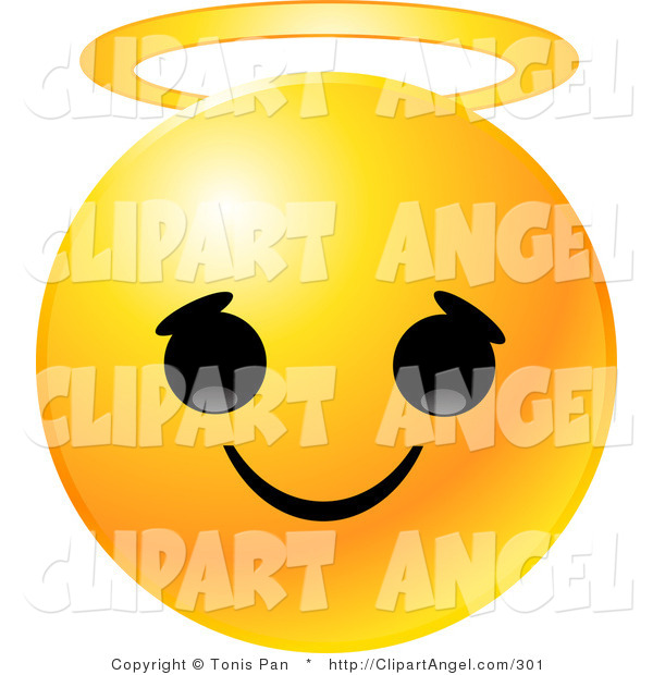 Illustration Vector of an Yellow Emoticon Face with a Innocent Expression and a Golden Halo on Its Head