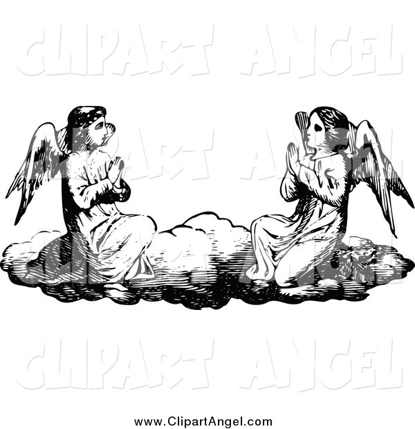 Illustration Vector of Black and White Angels Praying on a Cloud