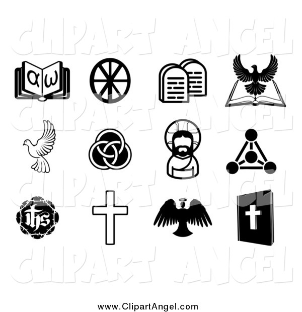 Illustration Vector of Black and White Christian and Angel Icons