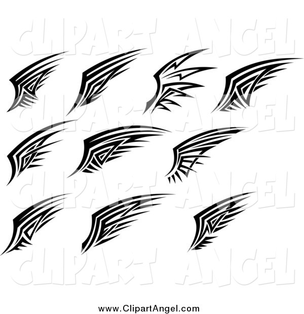 Illustration Vector of Black and White Tribal Angel Wings