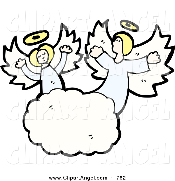 Illustration Vector of Blond Caucasian Angels in the Clouds
