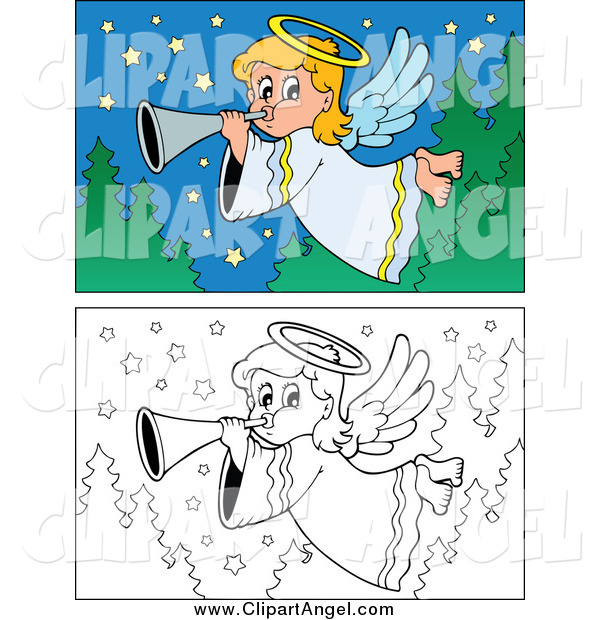Illustration Vector of Colored and Lineart Angel Scenes
