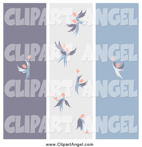 Illustration Vector of Purple Gray and Blue Love Angel Banners