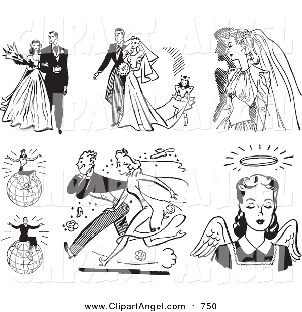 Illustration Vector of Retro Black and White Wedding Couples, People and Angel