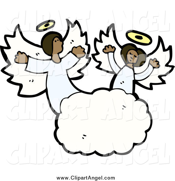 Illustration Vector of Singing African American Angels in the Clouds