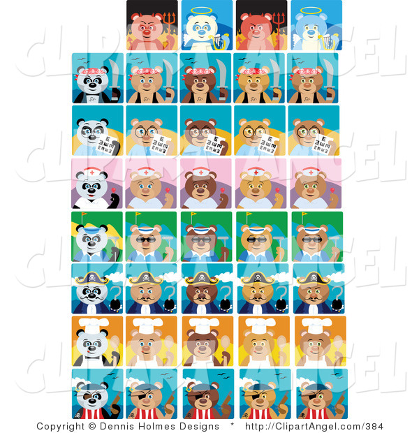Illustration Vector of Tiled Devil, Angel, Pirate, Captain, Optometrist, Nurse, Golfer and Chef Pandas and Bears
