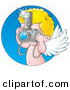 Illustration of a Caucasian Cupid Taking Pictures with a Camera, with a Blue Circle by Alex Bannykh