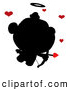 Illustration Vector Cartoon of a Black Silhouette of Cupid with Red Hearts Overhead by Hit Toon