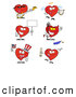 Illustration Vector Cartoon of a Digital Collage of Red Heart Characters on White by Hit Toon