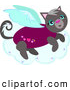 Illustration Vector Cartoon of a Gray Angel Kitty on a Cloud by