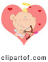Illustration Vector Cartoon of an Baby Cupid Shooting Arrows over Big and Small Hearts, on White by Hit Toon