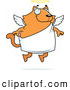 Illustration Vector Cartoon of an Chubby Orange Angel Cat, with Wings and Halo by Cory Thoman