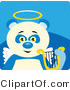 Illustration Vector of a Blue and White Angel Panda Bear with a Halo, Wings and Lyre on Blue by Dennis Holmes Designs