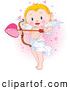 Illustration Vector of a Cute Blond Cupid Child Standing and Holding a Giant Heart Arrow, in a Pink Heart Cloud by Pushkin