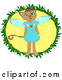 Illustration Vector of a Friendly Angel Cat in a Yellow Circle by