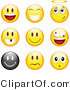 Illustration Vector of a Group of Nine Happy, Angelic, Goofy and Upset Black and Yellow Silly Emoticon Faces by Beboy