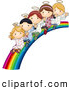 Illustration Vector of a Happy Group of Cute Angels Waving and Riding down a Rainbow Slide by BNP Design Studio