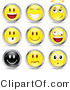 Illustration Vector of a Set of Nine Happy, Angelic, Goofy and Upset Black and Yellow Emoticon Faces Circled in Silver by Beboy