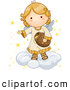 Illustration Vector of a Smiling Cute Blond Angel on a Cloud, Putting Stars in the Sky by BNP Design Studio