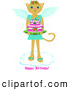 Illustration Vector of an Angel Cat with Cute Wings, Standing on a Cloud, Carrying a Cake, with Happy Birthday Text by