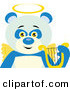 Illustration Vector of an Angelic Panda Bear with Golden Wings and a Halo and Lyre by Dennis Holmes Designs