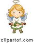 Illustration Vector of an Cute Angel Girl Holding a Rolled Scroll by BNP Design Studio