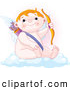 Illustration Vector of an Cute Chubby Cupid Sitting on a Cloud and Holding up a Bow and Arrows by Pushkin