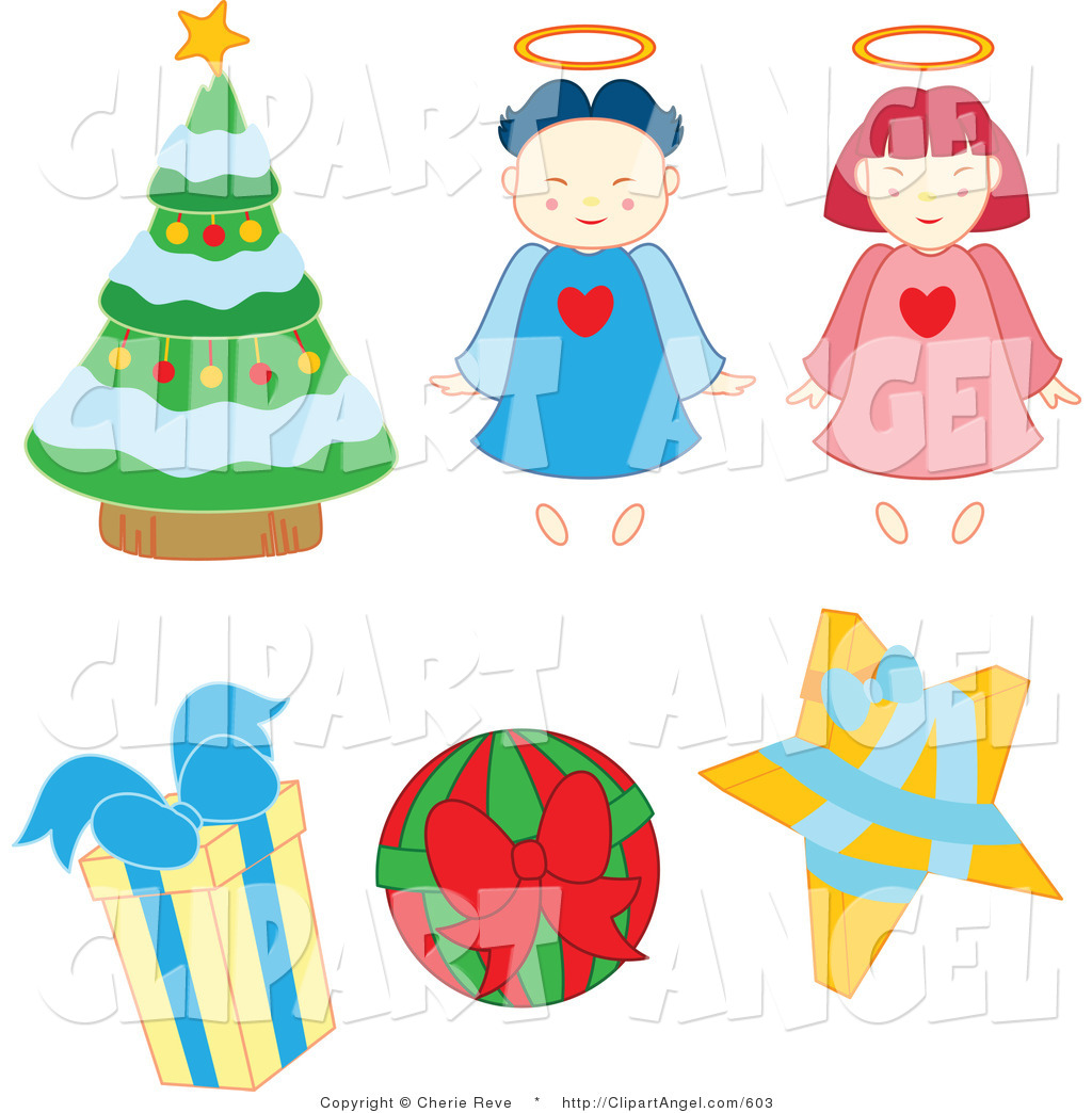 Illustration of Christmas Angels Baubles Tree and Gifts by ...