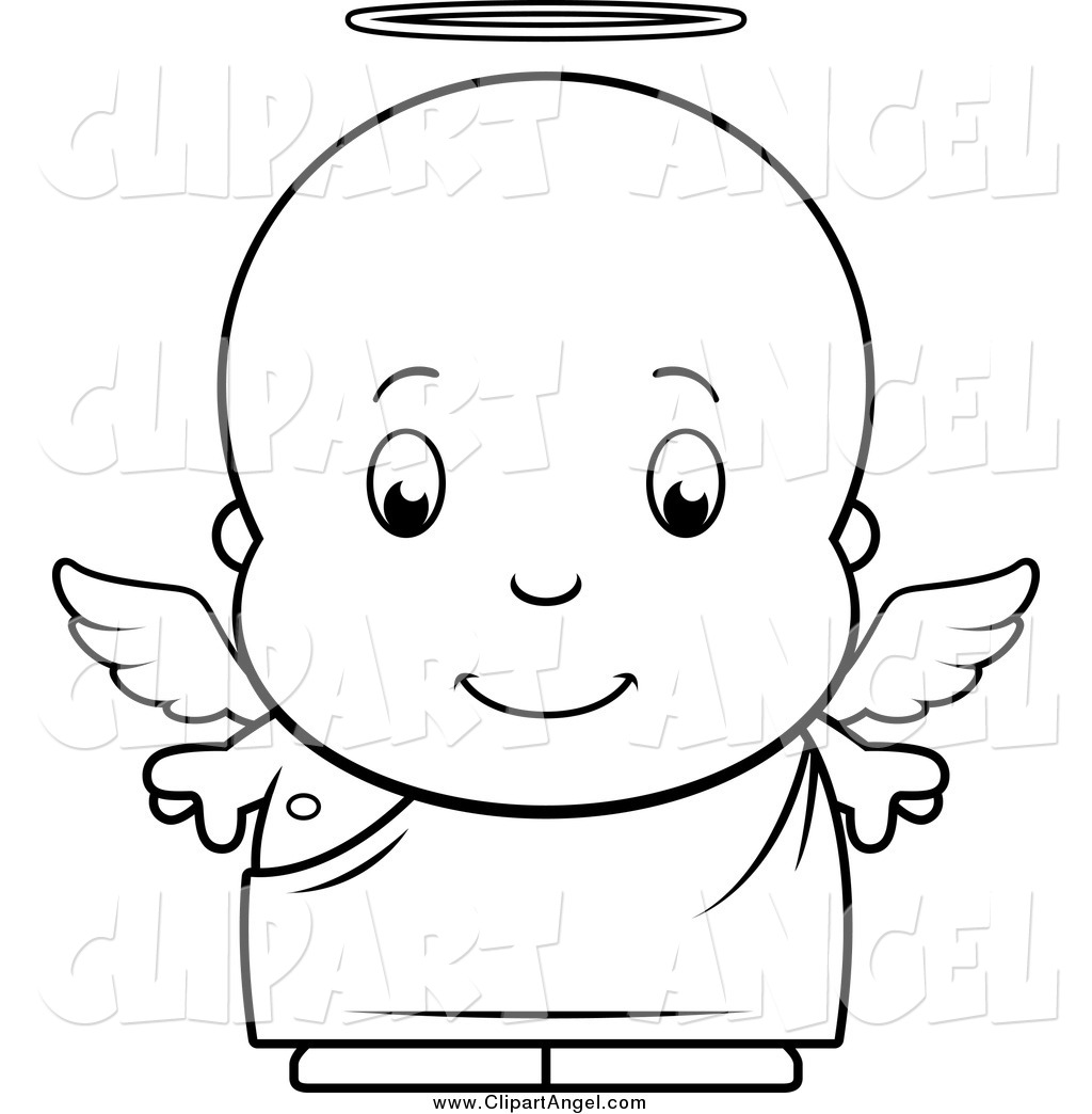 Illustration Vector Cartoon Of A Black And White Baby Boy Angel By Cory Thoman 1189