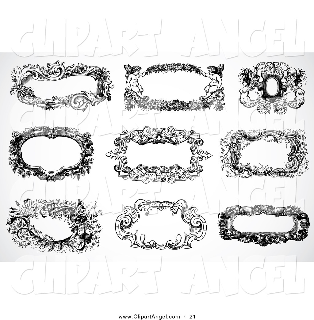 Illustration Vector of a Digital Set of Nine Black and White Vintage ...