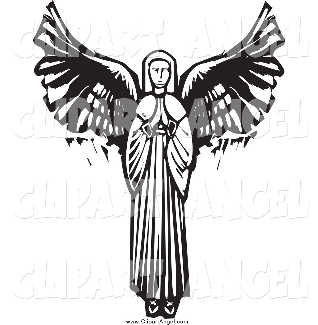 Royalty free black and white stock angel designs for Angel clipart