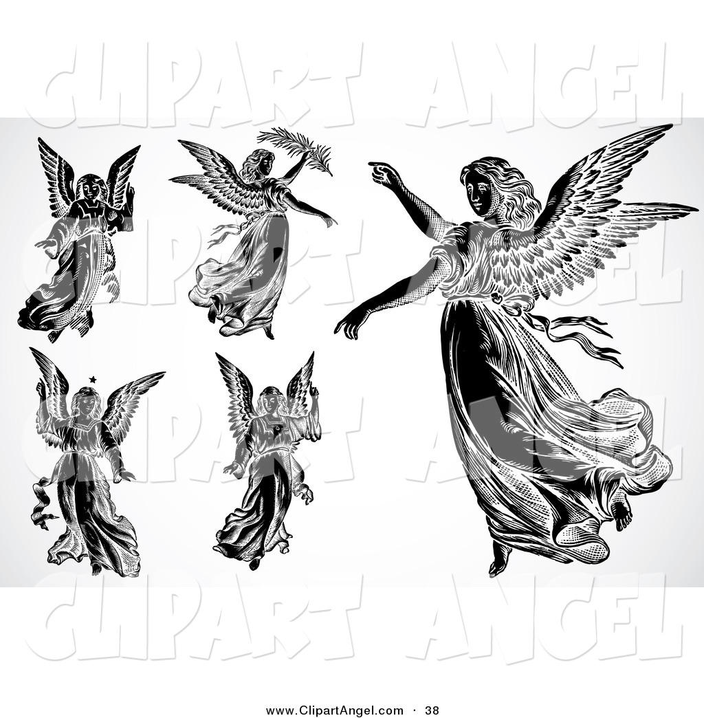 Illustration vector of an digital set of flying black and white angels on white